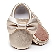 HONGTEYA Baby Moccasins with Rubber Sole - Flower Print PU Leather Tassel Bow Girls Ballet Dress Shoes for Toddler (0-6 Months/US 3.5/4.33''/See Size Chart, Gold)