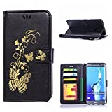 MOONCASE Galaxy S6 Edge+ Case, Bronzing Butterfly Pu Leather Wallet Pouch Etui Flip Kickstand Case Cover for Samsung Galaxy S6 Edge Plus Bookstyle Folio [Shock Absorbent] TPU Case with Photo Frame Black