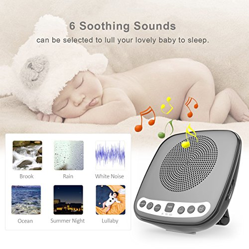 White Sound Machine Sleep with FM Radio, 6 Nature Timers and USB Charging Babies, Adults