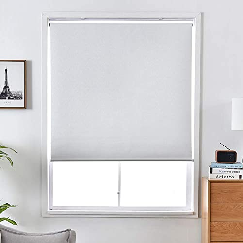 ALLBRIGHT Blackout Window Shades Cordless Window Blinds with UV Protection Thermal Roller Blinds Darkening Blackout Curtain White, 25 W x 72 H