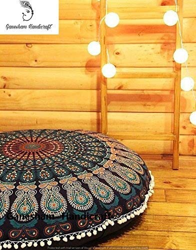 GANESHAM HANDICRAFT - Blue Mandala Tapestry Seating Pouf Ottoman Cover Hippie Decorative Bohemian Mandala Cushion Cover Dog Or Cat Bed Cover Handmade Pillow Insert Throw Pillow Cover Floor Pillow (Pillow Dog Tapestry)