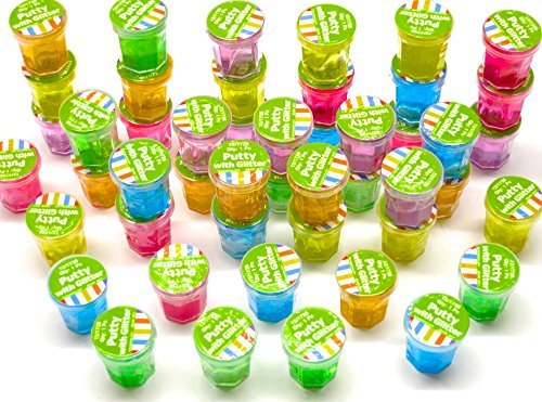 Mini Glitter Putty Slime - 48 Pack Assorted Colors Clear Put