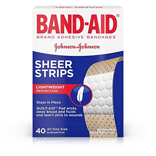 BAND-AID Sheer Strips Lightweight protection Adhesive Bandages, All One Size 40 ea (Pack of 1) (Band Aid Sheer Bandages)