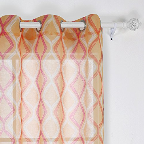 Deconovo Decorative Light Filtering Wave Print Woven Voile Panel Grommet Top Curtains Sheer Curtains for Bedroom 42X63 Inch Yellow Pink Orange and White One Panel