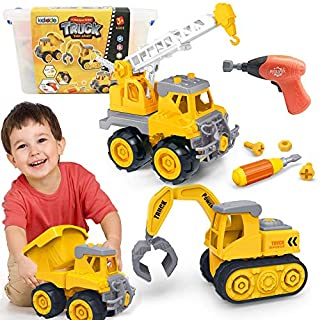 Kididdo Take Apart Truck for Boys and Girls,Set of 3 Construction Vehicles for Kids, Build a Dump Truck, Excavator and Crane, Take a Part Truck Toy with Drill and Tools for Toddlers 3-5 Years Old