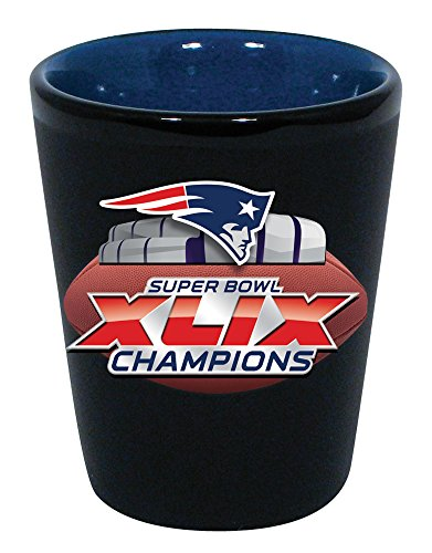 New England Patriots Super Bowl Superbowl XLIX 49 Champions Two-Tone Ceramic Shot Glass