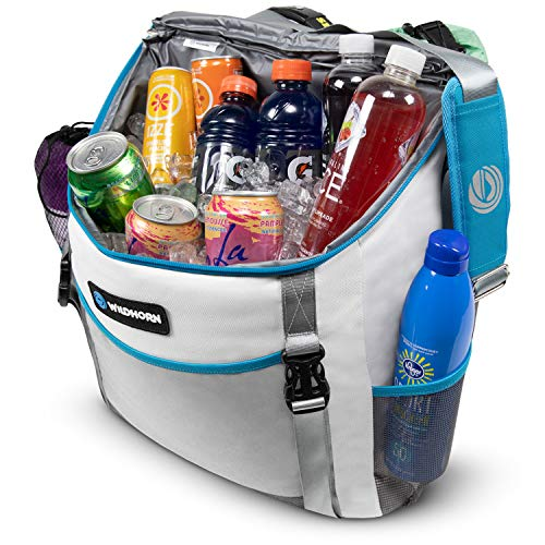 Insulated Cooler and Beach Bag – 24 Can, Large 26L Mesh Pocket, Collapsible Beach Tote by Wildhorn