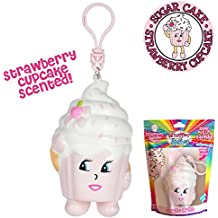 Whiffer Squishers 'Sugar Cake' Slow Rising Squishy Strawberry Cupcake Scented Backpack Clip