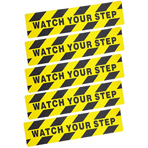 5 Pieces Watch Your Step Warning Sticker Adhesive Tape Anti Slip Abrasive Tape for Workplace Safety Wet Floor Caution, 6 by 24 Inches