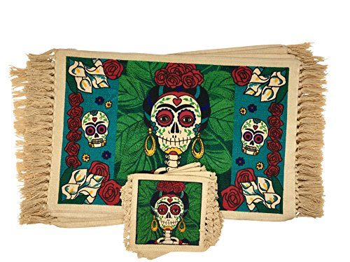 (SpiritFest Sugar Skull Placemats & Coasters: Set of 8 Day of the Dead Kitchen & Dining Table Decor (La Pintora))