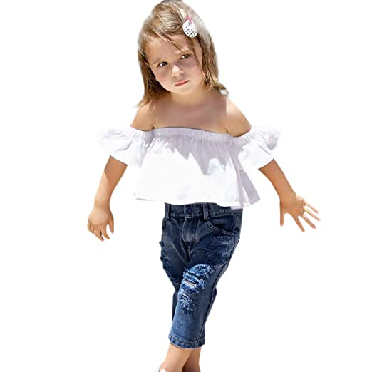 8907fdc07 Amazon.com  3pcs Toddler Kid Baby Girls Off Shoulder Ruffle Top ...