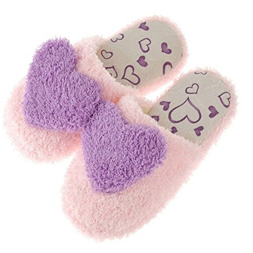 Slippers Indoor Home Women slip Shoes Soft Gracefulvara Lovely Ladies Warm Plush Heart Purple Anti Winter AwHqTvf