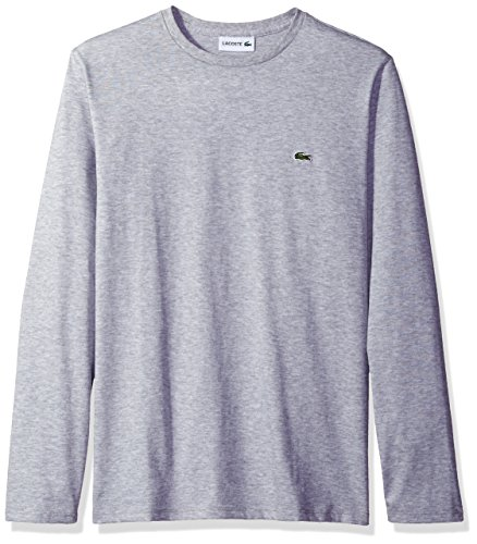 - Lacoste Men's Long Sleeve Jersey Pima Regular Fit Crewneck T-Shirt, TH6712-51, Silver Chine XX-Large