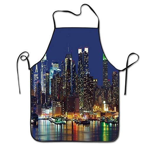 PoppyAnthony York NYC Midtown Skyline in Evening Skyscrapers Amazing Metropolis City States Photo Royal Blue Cooking Apron Personalized Chef Apron for Women Men Kitchen Bib Apron -
