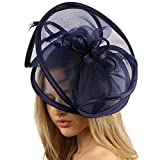 Feathers 3 Tier Layer 2 Tone Headband Fascinator Millinery Cocktail Hat Solid Navy