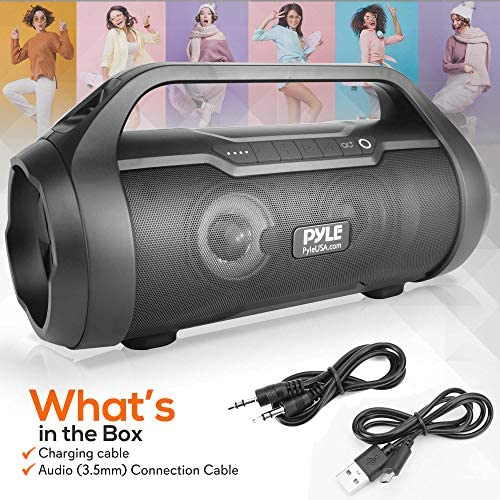 Wireless Portable Bluetooth Boombox Speaker – 500W 2.0CH Rechargeable Boom Box Speaker Portable Barrel Loud Stereo System with AUX Input/USB/SD/Fm Radio, 3″ Subwoofer, Voice Control – Pyle PBMWP185 51TC1Bi 5CL