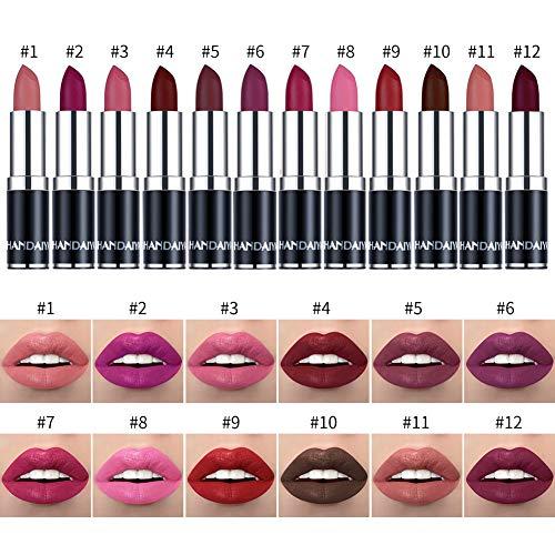 BONNIESTORE 12 Pcs Matte Nude Lipstick Set, Waterproof Makeup Long Lasting Colors Lip Gloss Moisturizer Purple Lip Beauty Cosmetics Lip Care