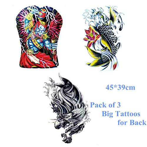 3 Sheets Men's Full Back Tattooes--Thor, Chinese Dragon, Fancy Carp Fish Totem Temporary Tattoo Sticker Decal Body Art Waterproof Fake for Men Chest, Back 45x39cm Big (Carnival Man With Direction Sign)