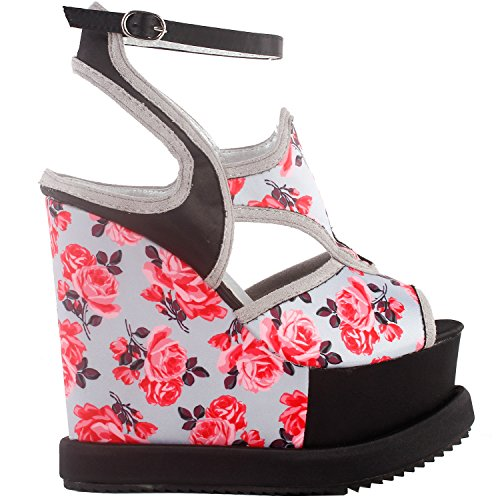 Show Story Woman Black Grey Ankle Floral Print Cut-Out Ankle Grey Strap Wedge Platform Sandals,LF38828 B0784S4ZGR Parent e8092b