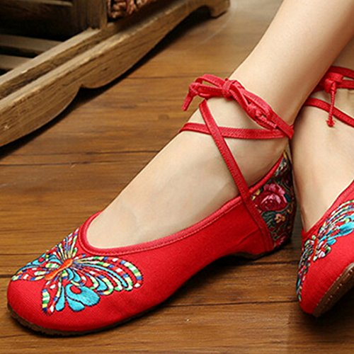 Chaussures Florales Chinoises Brodées Vintage Femme HUDIE Ballerines Mary Jane Ballerine Flat Ballet Cotton Loafer Rouge