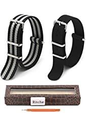 2pc Ritche 22mm Nylon Striped Black,black/gray Interchangeable Replacement Watch Strap Band