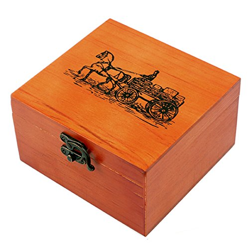 Aibearty Wooden Box with Craft Hand Stitching Sewing Kit (12pcs Thread Cord and 10pcs Sewing Kit Accessories)