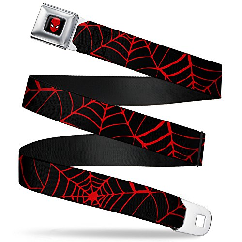 "Buckle-Down Seatbelt Belt - Spiderweb Black/Red - 1.5"" Wide - 24-38 Inches in Length"