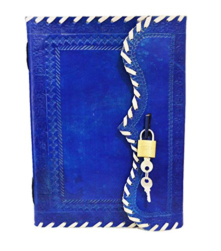 Genuine Leather Journal Vintage Antique Style Organizer Blank Notebook Secret Diary Daily Journal Personal Diary - Blue