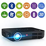 WOWOTO H8 Video Projector DLP LED Full HD 3D Support 1080P Android OS WiFi&Bluetooth 300'' Mini Home Theater Mini Work with Android iPhone USB AV SD HDMI Multi-screen Sharing Touch Control Projectors