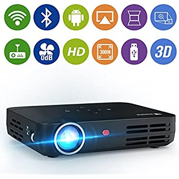 WOWOTO H8 Video Projector 1280x800 WXGA DLP Support 3D 1080P HD LED Perfect For Entertainment Business Android OS Download Install Apps HDMI AV USB SD RJ45 Wireless Screen Share Huge Projection Screen