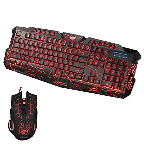 TANGON Gaming Mouse Gaming Keyboard Combo LED Backlit Wired Silent 104 Key USB Keyboards Mechanical Feel with Mutilmedia Keys Character Illuminated (#1)