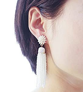 VK Accessories Bead Fringe Dangle Earrings Soriee Drop Earrings Beaded Tassel Ear Drop