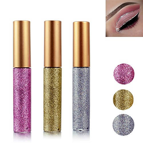 Glitter Liquid Eyeshadow 3 Color Metallic Glitter Sparkling Eyeliner Face Eye Cosmetic Glow Shimmer Makeup Glitter Eye Shadow Long Lasting Sparkling Eyeliner Eye Shadow Gold Brown,Silver and Pink
