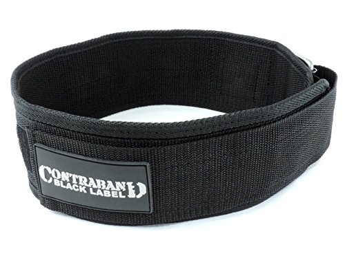 Contraband Black Label 4010 4inch Nylon Weight Lifting Belt w/Hook & Loop - Perfect Heavy Duty Back Support for Weightlifting Bodybuilding Powerlifting - Men & Women (Black, XX-Large)