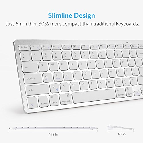 Anker Bluetooth Ultra-Slim Keyboard for iPad Air 2 / Air, iPad Pro, iPad mini 4 / 3 / 2 / 1, iPad 4 / 3 / 2 , New iPad 9.7''(2018/ 2017), Galaxy Tabs and Other Mobile Devices (White) by Anker (Image #1)'