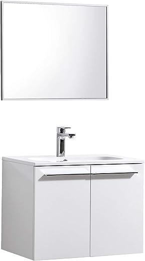 Badplaats B.V. Badezimmer Badmöbel Set Colombia 60cm mit Spiegel Hochglanz Weiß Unterschrank Spiegel Waschbecken 1
