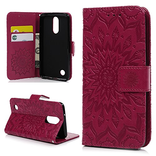 YOKIRIN LG Aristo Case, LG Phoenix 3 Case, LG K8 2017 Case,Embossed Sunflower Premium PU Leather Magnetic Wallet Flip Case Soft TPU Inner Bumper Card Holder Wrist Strap Protective Cover, - Phoenix Premium