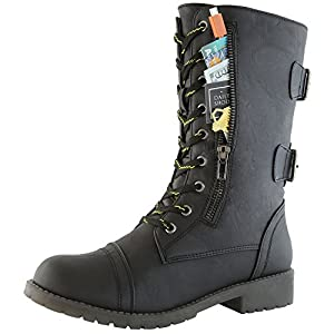 DailyShoes Women's Military Combat Ankle Boots Lace Up Buckle Mid Knee High Exclusive Credit Card Pocket Bootie, Premium Black PU, 7.5 B(M) US