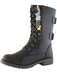 Women's Military Combat Lace up Mid Calf High Credit Card...