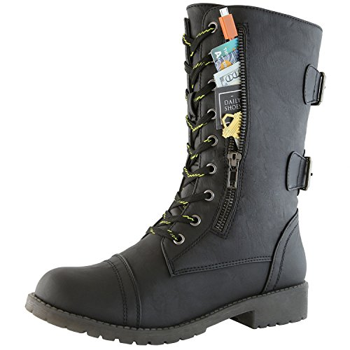 DailyShoes Women's Military Combat Ankle Boots Lace Up Buckle Mid Knee High Exclusive Credit Card Pocket Bootie, Premium Black Pu, 9 B(M) US ()