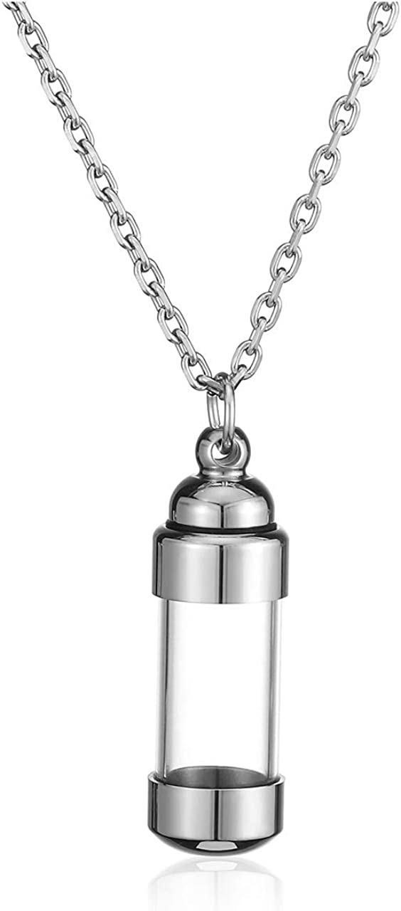 Remembrance Urn Charm Necklace Cremation Jewelry Silver and Black Bottle Urn Necklace
