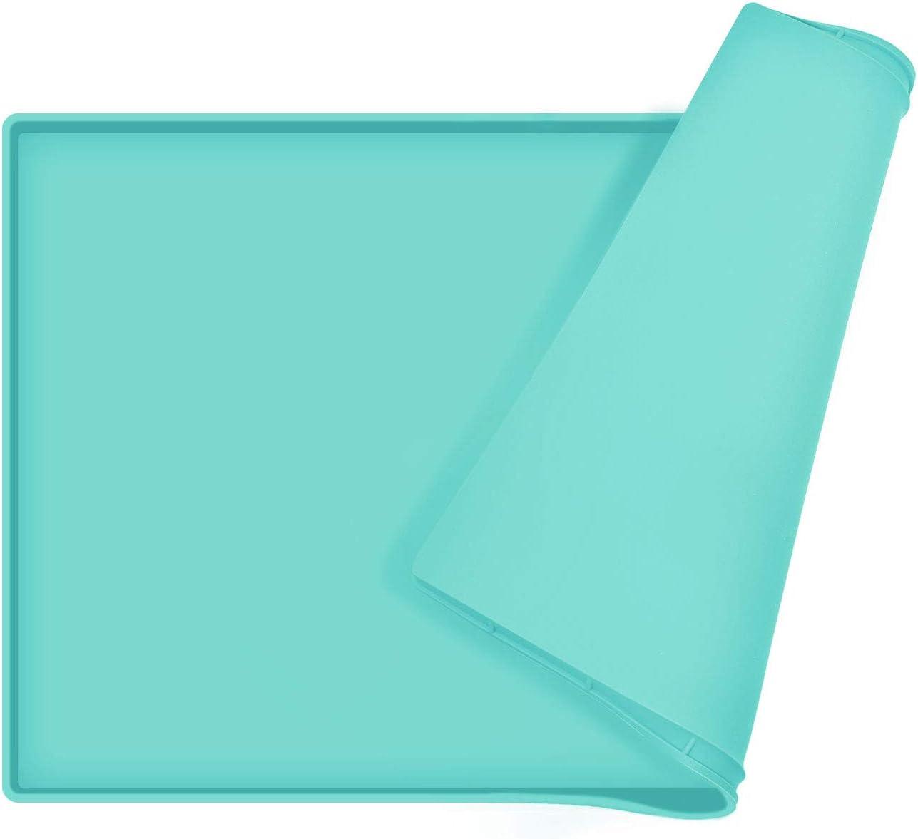 EIOKIT Dog Food Mat, Silicone Waterproof Dog Cat Food Tray,Non Slip Pet Bowl Mats Placemat, Size: M(18.5