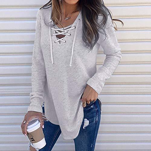 Elegante Camicia Moda Benda Con Lunga Casual Loose shirt Cotone Top Gray V Pullover Bazhahei Estate Donna collo Maglietta Manica Primavera T camicetta wC8Utq5