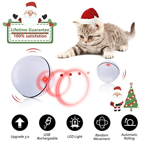 Domgoopet Interactive Cat Toys Ball, Self Rotating Cat Toy, Newest Version USB Rechargeable Pet Toy,Buit-in Spinning LED…