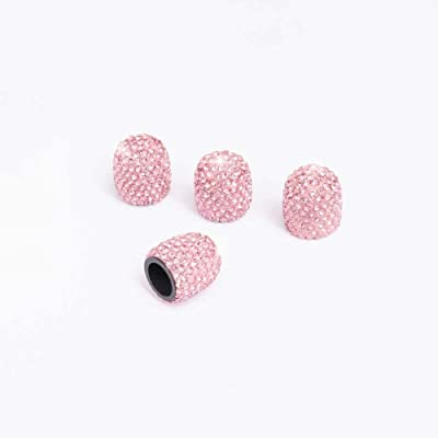 ACCRETION Valve Stem Caps 4 Packs Handmade Crystal Rhinestone Universal Valve Stem Caps Bling Car Accessories with 1 Piece Ring for Auto Start Engine Ignition Button Key and Knobs, Pink: Automotive