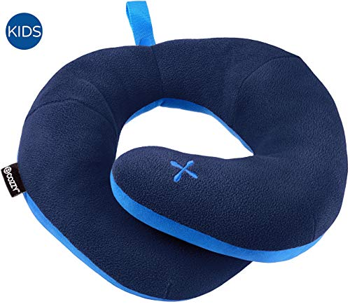 BCOZZY Kids Chin Supporting Patented Travel Pillow - Keeps The Child's Head from Bobbing up and Down in car Rides, Providing Comfort and Support for The Neck and Head. Child Size (Navy)