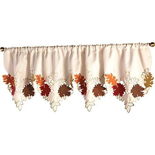 Collections Etc Decorative Leaf Fall Window Valance, Rod Pocket Top, 67