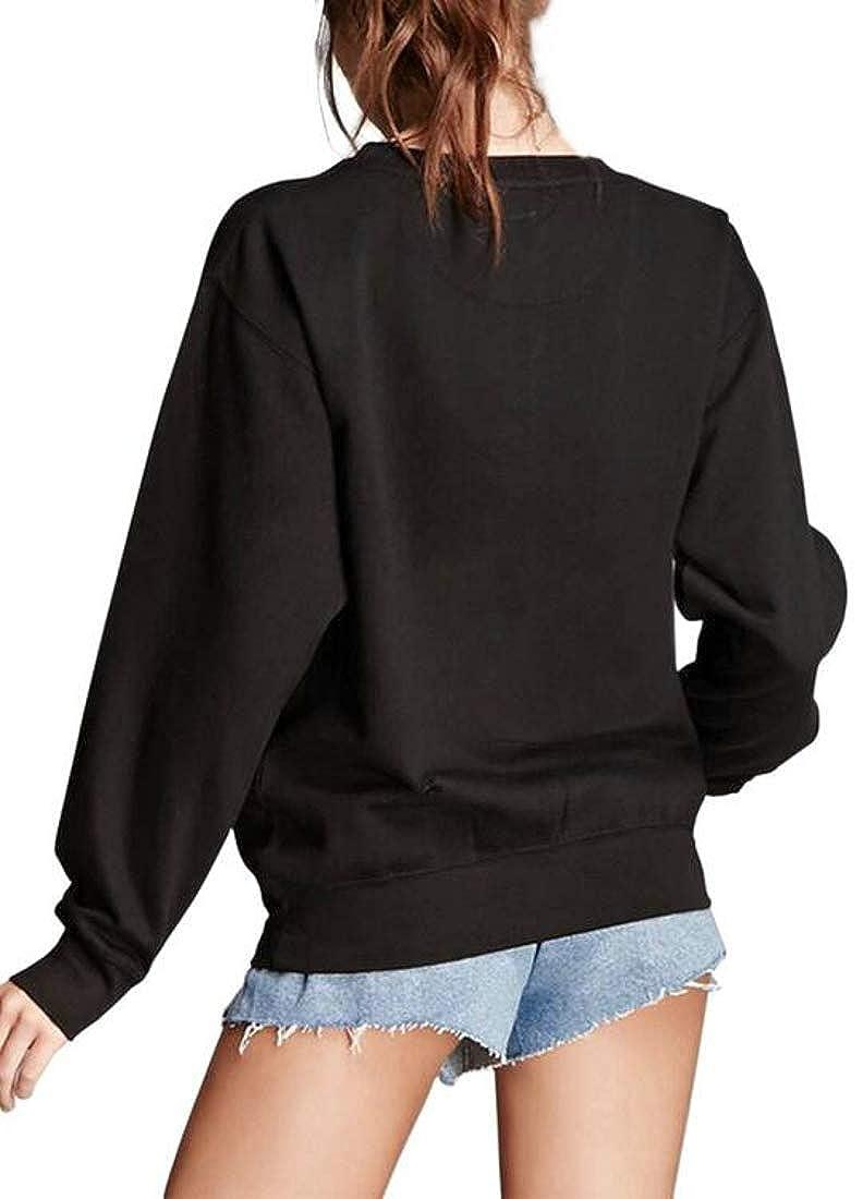 Joe Wenko Womens Round-Neck Long Sleeve Top Embroidery Pullover Basic Sweatshirts