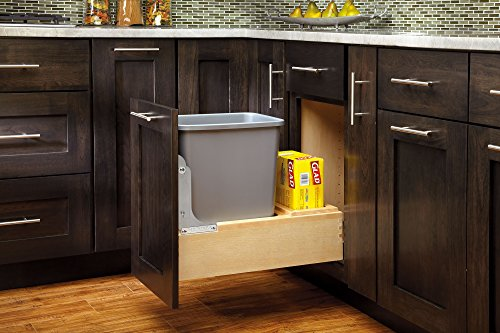 Rev-A-Shelf 4WCBM-15DM-1 Single Pull-Out Bottom Mount Wood and Silver Waste Container with Rev-A-Motion Slides, 35 quart, Natural by Rev-A-Shelf