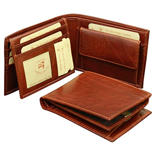 OLD ANGLER - Leather bifold wallet with coin pocket - Brown - Italian Handmade Leather - 801105MA (Old Italian Coins)